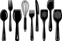 Kitchen Utensils Silhouette Svg Cut File   Kitchen Svg   Split Svg   Wisk Svg   Spatula Svg   Spoon Svg   Baking Utensils Svg