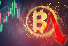 Bitcoin Cryptocurrency Value Price Fall Drop. Stock Market Trading Graph Business With Red Arrow Concept Banner Background 3d Illustration