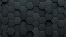 Semigloss Tiles Arranged To Create A Concrete Wall. 3D, Hexagonal Background Formed From Futuristic Blocks. 3D Render