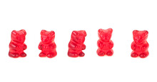 Red Jelly Bears Isolated On A White Background. Group Of Jelly Candies. Jelly Bean. Fruit Candy.