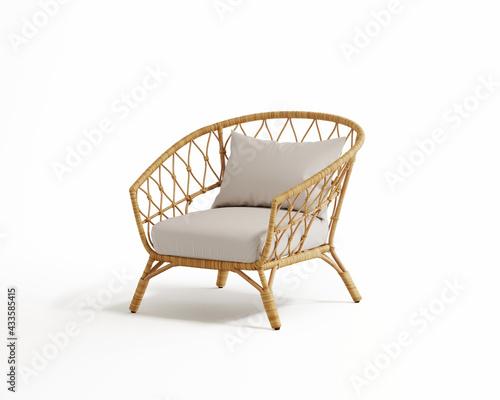 Fototapeta 3d rendering of an isolated modern rattan lounge chair  obraz