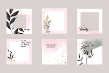 Minimal Abstract Instagram Social Media Story Post Feed Background Layout. Banner Template In Pink Nude Pastel Watercolor Vector Texture Mockup With Floral Elements. For Beauty, Care, Wedding, Makeup