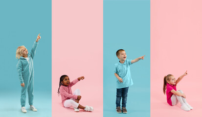 Art collage made of portraits of little and happy kids isolated on multicolored studio background. Human emotions, facial expression concept