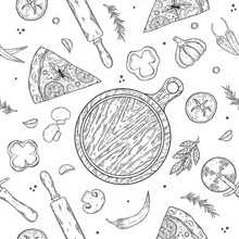 Pizza Ingredients Background. Linear Graphic. Tomato, Garlic, Basil, Olive, Pepper, Mushroom, Leaf. Seamless Pattern.
