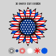 4th Of July 3D Sunflower With USA Flag. Vector Patriotic Symbol. Layered Sunflower Paper Or Laser Cut Template, Printing On T-shirt,sublimation. For Card, Banner, Flyer. Independence Day.