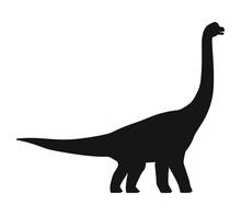 Brachiosaurus Silhouette Icon Sign, Dinosaurs Symbol Design,  Isolated On White Background, Vector Illustration