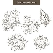 Hand Drawn Set Cute Doodle Vector Seashells