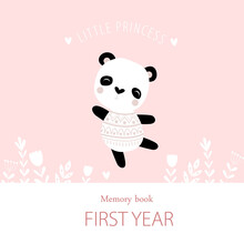 """The Pink Cover Of The Photo Album For Girls """"our Little Princess"""" By A Panda. Poster, Postcard, Metric. Memory Book For Photos."""