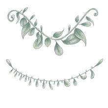 Cute Green Garland, Kawaii Leaves, Cartoon Garland