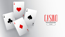 Four Playing Casino Ace Cards Background