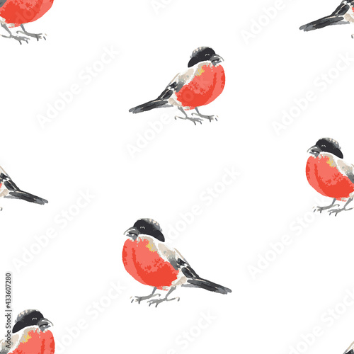 Fotografiet Seamless background of watercolor sketches of bullfinches
