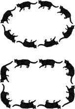 Vector Decorative Borders From Sketches Black Domestic Cats