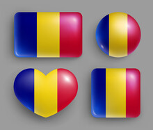 Glossy Buttons With Romania Country Flags Set. European Country National Flag Shiny Badges Of Different Shapes. Rumania Symbol In Patriotic Colors Realistic Vector Illustration On Gray Background