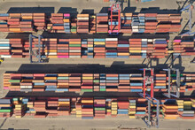 Container Ship Leaving The Port, Aerial View.