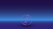 Neon Cd Symbol On A Gradient Blue Background. The Isolated Symbol Is Located In The Bottom Center. Gradient Blue With Light Blue Skyline