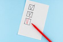 Red Marking On Checklist Box With Pen, Checklist Concept