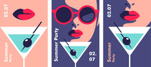 Summer Party Poster Design Template. Minimalistic Style Vector Illustration.