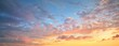 Leinwandbild Motiv Clear blue sky. glowing pink and golden cirrus and cumulus clouds after storm, soft sunlight. Dramatic sunset cloudscape. Meteorology, heaven, peace, graphic resources, picturesque panoramic scenery