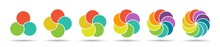 Set Of Color Pie Charts Of 3, 4, 5, 6, 8, And 10 Parts Or Elements For Visualizing Infographics, Business Plans, Marketing, And Reporting. Simple Design
