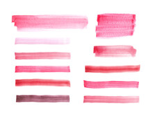 Powdery Rose Pink Paint Spots And Stripes, Set Of Red And Pink Watercolor Pigment Hand Drawn Brush Strokes Isolated On White, Design Elements In Lipstick Colors.