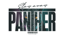 Typography Slogan With Panther Head,vector Illustration For T-shirt.