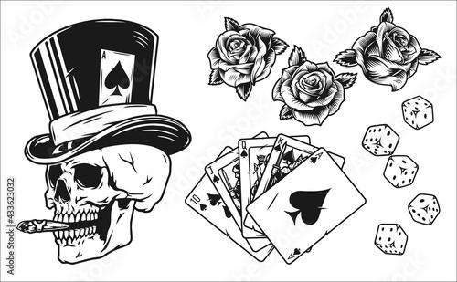 Obraz na plátně Vintage monochrome gambling elements set