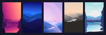 Collection Of Mountain And River Landscapes For Banner, Web Site, Social Media. Editable Vector Illustration With Summer Night And Morning Beautiful Scenery