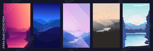 Collection of mountain and river landscapes for banner, web site, social media Fototapet