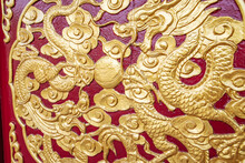 Chinese Dragon Totem Gold Lacquered Wood Carving Double Dragon Play Beads