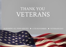 Thank You Veterans Over American Flag Waving, Veterans Day And Patriotism Concepts