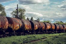 Train For Transporting Liquid Cargo. Tank