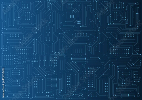 circuit board electronic or electrical line on blue engineering technology conce Fototapet