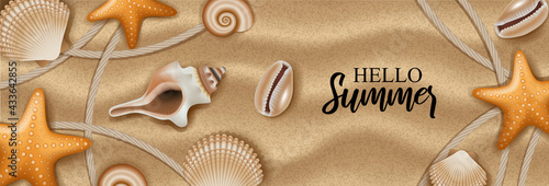 Canvas Hello summer banner with shells and starfish on sand background