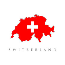 Flags Map Switzerland Vector Illustration. Flat Vector Flag Of The Swiss Confederation (Switzerland). A Red Square Canvas With A White Cross In The Middle.