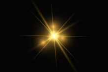Yellow Glowing Transparent Light Burst Explosion. Vector Illustration For Cool Effect Decoration With Ray Sparkles. Bright Star. Transparent Shining Gradient Glitter, Bright Flare. Glare Texture.