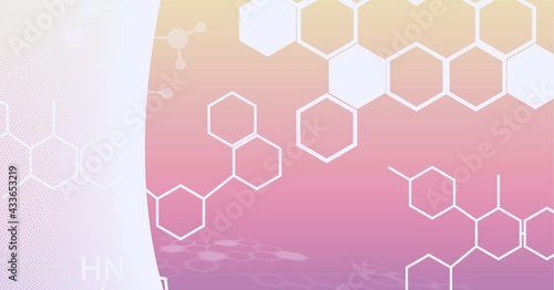 Composition of white chemical compounds structures on white and orange background