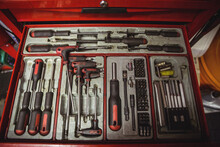 Close Up Of Case Filled With Tools And Srew Driver Set Used In Rapair Workshop