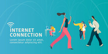 Global Internet Connection Modern People Concept Flat Illustration Banner