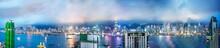 HONG KONG - MAY 2014: Amazing Night Panoramic View Of Hong Kong Skyline From Kowloon Tower