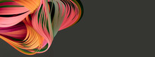 Red And Pink Neon Color Strip Wave Paper. Abstract Texture Black Long Horizontal Background.