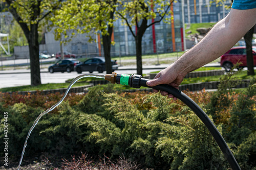 Photographie An employee of the city service watering the lawn grass and flowers in the flower beds on the embankment of the city