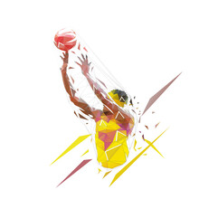 Basketball Player Shooting Ball, Jump Shot. Low Polygonal Vector Illustration. Geometric Logo From Trianlges