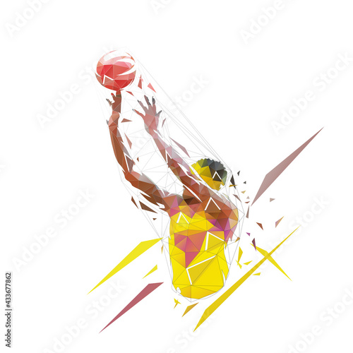 Basketball player shooting ball, jump shot. Low polygonal vector illustration. Geometric logo from trianlges - fototapety na wymiar