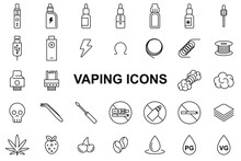 Vaping Icons Set - Editable Stroke