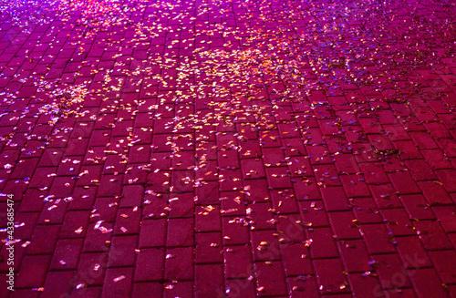 Fotografie, Obraz The old cobblestone square. Stone paving texture.
