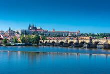 PRAGUE, CZECH REPUBLIC, 31 JULY 2020: Beautiful Cityscape Over The Vltava River