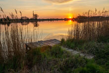Fishing Pier On The Shore Of The Lake And Sunset, Stankow, Poland