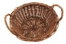 Round Wicker Picnic Gift Wine Food Basket Isolated On White Background, Top View. Rattan Wicker Basket Isolated On White.