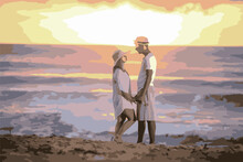 Casal De Namorados Na Praia Num Lindo Por Do Sol..