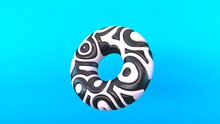 Diseño Abstracto De Torus Tridimensional. Ilustración 3d De Toroide Colorido. Fondo Para Presentación Con Relieve.
